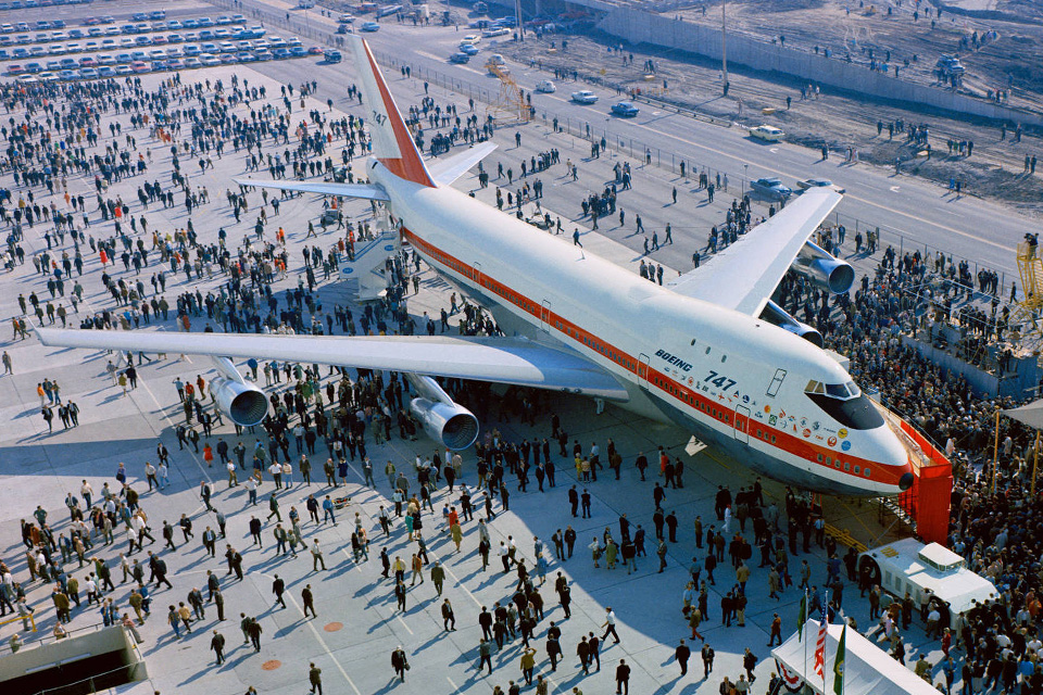 The first 747 is rolled out of the Boeing plant on September 30, 1968. (©Boeing)