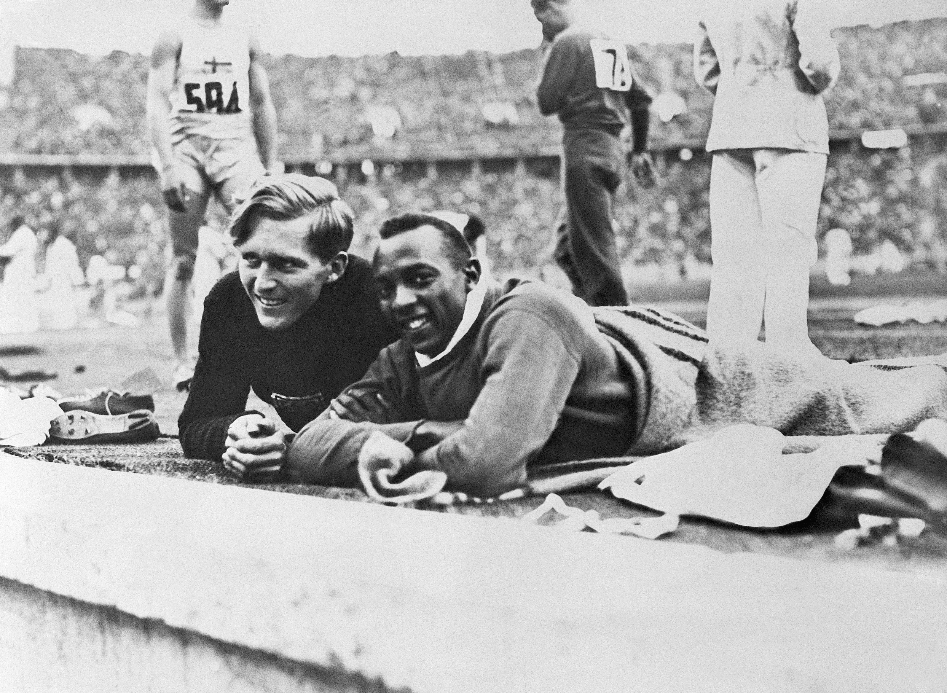 Jesse Owens and Luz Long, 1936. (Getty Images)
